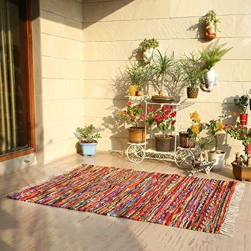 Chindi Rugs Large (120x180 cm) - Chindi Flickenteppich aus 100% Baumwolle für den Wohn- und Schlafbereich
