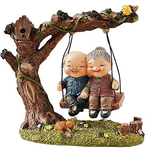 Der Happy Älteres Paar Statue,Garten Statue Harz Handwerk,Miniatur Bemalt Figur The Happy Couple,auch als Weihnachtengeschenk zum Papa/Mama/Opa/Oma,A