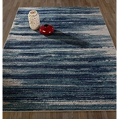 Diagona Designs Contemporary Stripes Design Modern 5' X 7' Area Rug 63  W x 87  L, Teal/Navy/Gray (JAS2046)