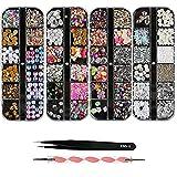 Kit de decoración de uñas(4 Cajas),nail art Design Accesorios,Coloridas Caballo Ojo Rhinestones Metal Studs,para Uñas DIY Decoración Gemas,con Pinzas+Lápiz de Punto