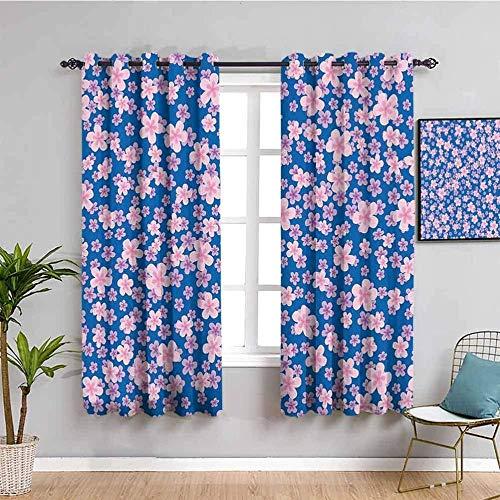 ZLYYH Cortinas De Salón Rosa simple planta flor 132x214cm Cortinas extra largas Tratamientos de ventana para paneles y cortinas de sala de estar, cortinas extra largas de ojal clásico