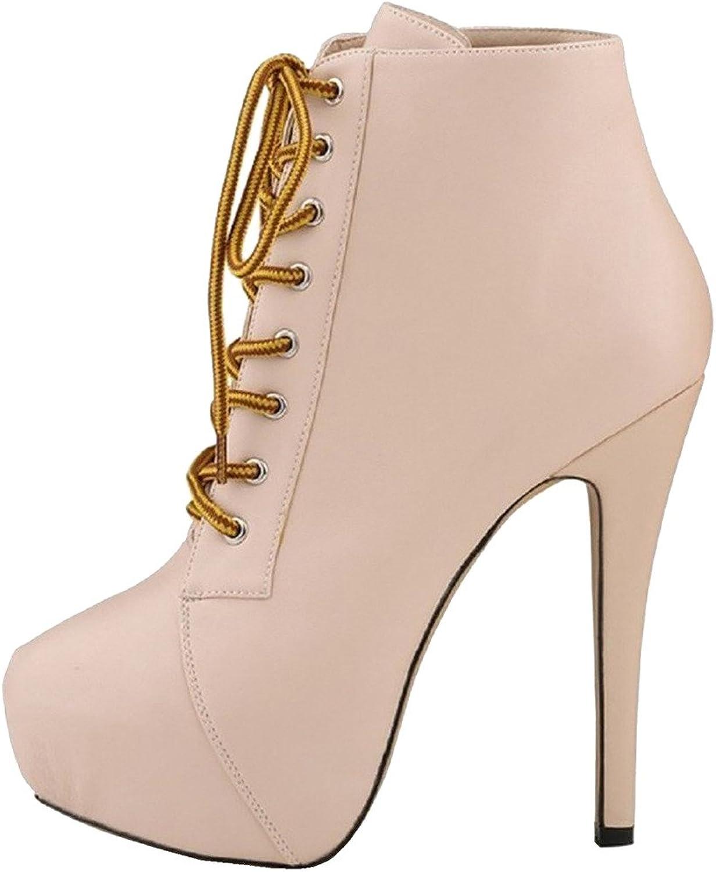 d7f1686e6deef Womens Caquite Round Toe 14CM Stiletto Lace up shoes Calaier Boots ...