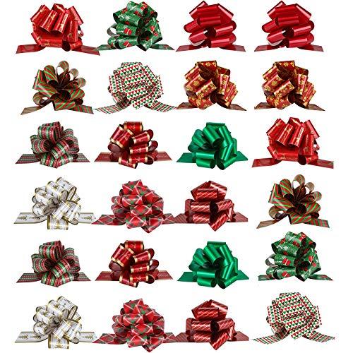 LEZED Weihnachtsschleifen Geschenkschleifen Weihnachten Schleifenband Geschenkschleife Groß Ziehschleifen Geschenkschleife Geschenk Schleife Geschkenk Band für Geschenkverpackung 13cm 24 Stück