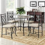 Dorel Living Jersey 5-Piece Dinette, Black/Beige