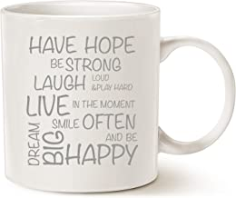 MAUAG Funny Inspirational Coffee Mug Christmas Gifts, Have Hope Be Strong Typography Motivational Quote Ceramic Cup White, 11 Oz