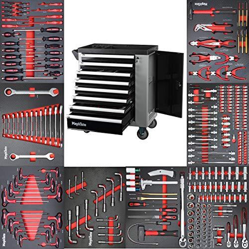 Werkzeugwagen Werkstattwagen mit 8 Schubladen davon 8 mit Werkzeug wie Schraubenschlüssel, Ratsche mit Nusskasten, Schraubendreher usw. in Soft Inlays in Carbonoptik befüllte Schubladen von Mephisto