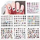 Howaf Halloween Nail Art Stickers Autocollants à Ongles 310+ Design, 3D Nail Art Autocollants Decoration pour Enfant Adulte Halloween Cosplay Nail Maquillage Accessoires Decoration