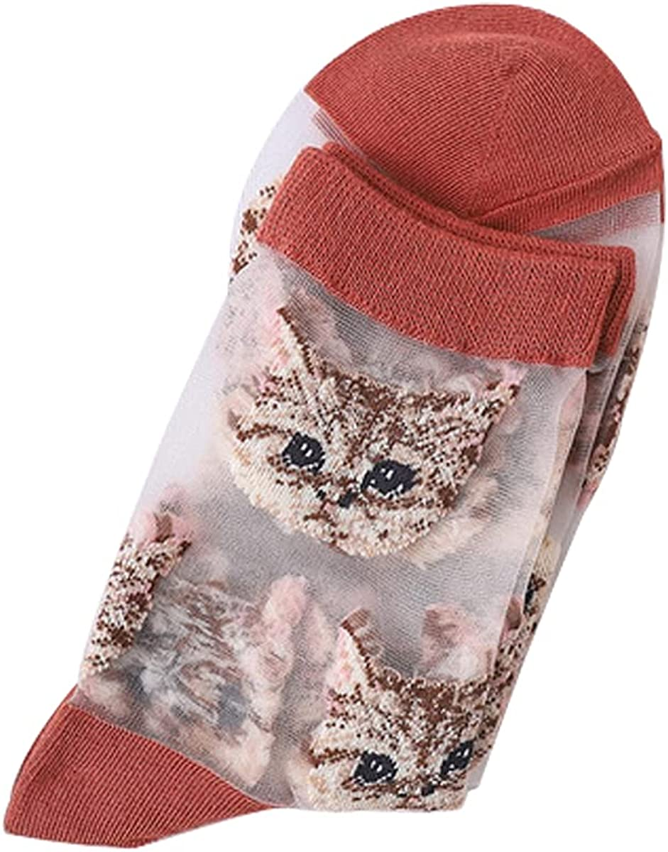 DuoYo Women Transparent Casual Socks Cat Pattern Ultrathin Elastic Short Stylish Ankle Socks for Dress,Casual Events,Wedding