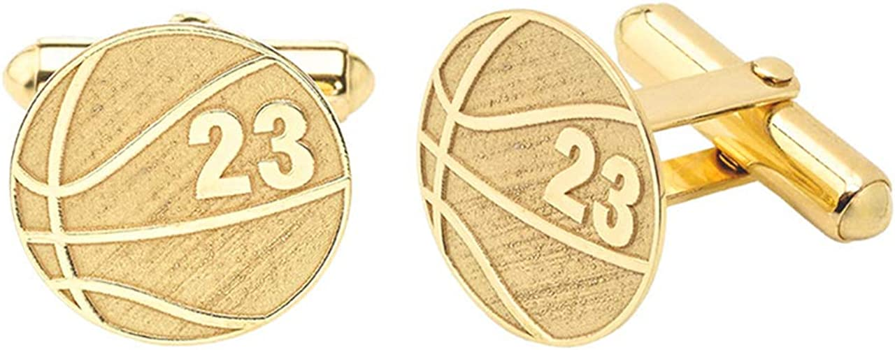 Certified 14k Yellow Gold Personalized Engraved Basketball Cufflinks Custom 2 Numbers