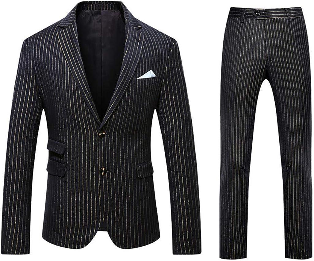 Casual Men Suit 2 Piece Suit Blazer Two Button Tuxedo Business Wedding Party Jackets &Trousers