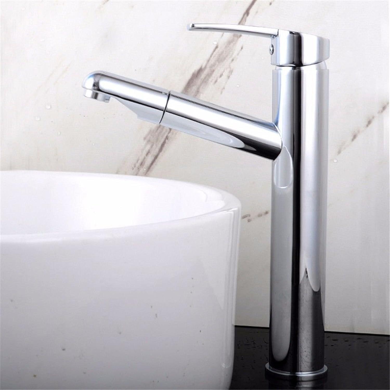Gyps Faucet Waschtisch-Einhebelmischer Waschtischarmatur BadarmaturDie Silber - Kupfer Waschbecken Wasserhahn Warmes und Kaltes Ziehen die Wasserhhne Hohe Einzelne Bohrung,Mischbatterie Waschbecken