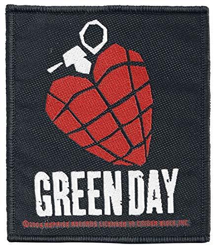 Green Day Men's Heart Grenade Woven Patch Black