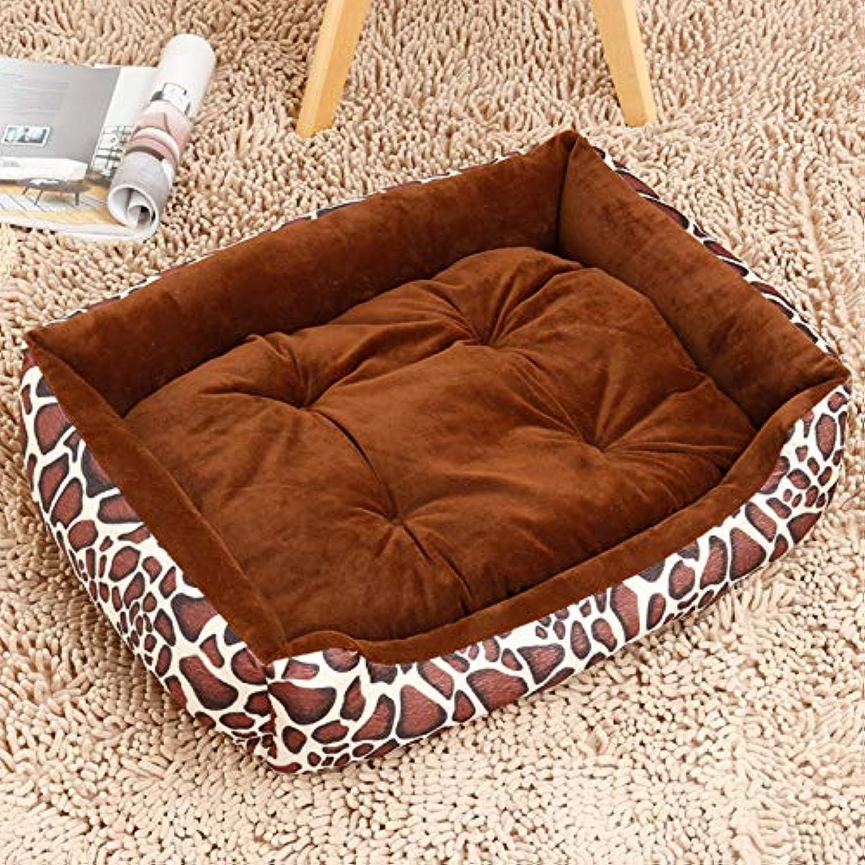 Glashaus Kennel four di pet mat small medium large dog golden Retriever dog supplies bed cat litter winter, coffee leopard, 45CM