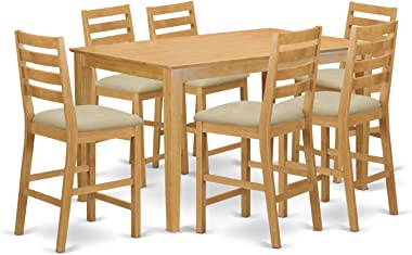 East West Furniture CACF7H-OAK-C Dining Table Set 7 Pc - Linen Fabric Dining Room Chairs Seat and Ladder Back - Oak Finish Re