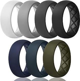 حلقات سيليكون للرجال بنصف أحجام، قوس داخلي مريح قابل للتهوية تصميم سيليكون خاتم زفاف 8.5 ملم عرض - سمك 2.5 ملم