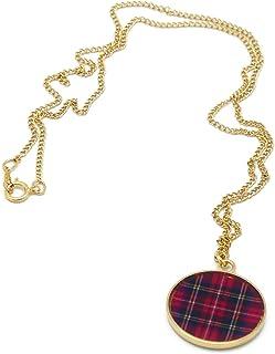 TARTAN collana scozia rosso o blu verde ottone dorato 24k oro riempito 14k resina rossa regali di natale mamma compleanno ...