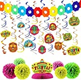 28 PCs Cinco De Mayo Fiesta Hanging Swirls Mega Pack with Strings, Honeycomb Table Centerpiece, Tissue Pom Paper Flowers & Backdrop Banner for Party Decoration, Mexican Sombrero Taco Supplies Décor