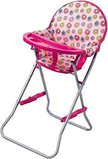 Perfeclan ABS Plastic High Chair for Dolls | Baby Doll Highchairs Toy Furniture and Play Accessories | Fits 9-12inch Reborn Dolls, Kids Pretend Play Set