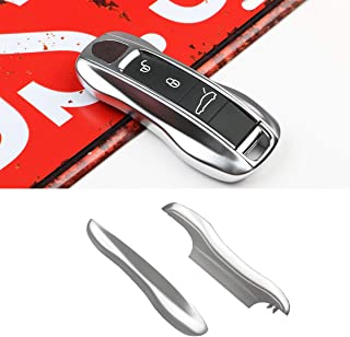 2PCS Remote Key Covers Compatible with Porsche, Jaronx Glossy Silver Key Fob Shell Cover Painted Keyless Entry Skin Protectors (Compatible with:Porsche Cayenne Panamera 2018 2019)
