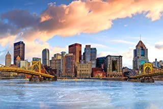 Downtown Pittsburgh Skyline Frozen River Skyline Sunrise Photo Cool Huge Large Giant Poster Art 54x36