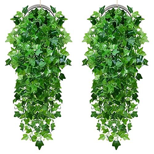 YQing 2 Stück Künstliche Hängepflanze, Knstpflanze Hängend Efeu Pflanze Weinreben Farne für Wand, Innenbereich, Hängekörbe, Hochzeitsgirlande (Grün)