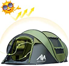 ayamaya Pop Up Tent for 3-4 Person, 3 Season Easy Setup Family Camping Tent - Ventilated [2 Doors] [Mesh Window] Quick Ez Set Up Dome Popup Tents
