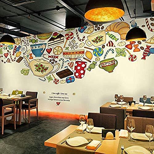 Tapete Wandmalerei Wandkunst Retro Milchtee Dessert Shop Cafe 3D Selbstklebende PVC Wandbild Essen & Trinken Coff Wanddekoration fototapete 3d Tapete effekt Vlies wandbild Schlafzimmer-150cm×105cm