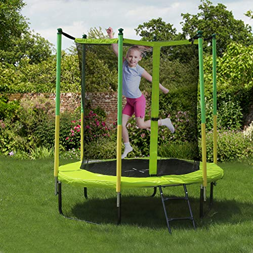 GBU Trampoline with Safety Enclosure Net - 8FT Indoor Outdoor Fitness Trampolines for Kids Recreational Jumping-Bed with Steady-Ladder Anchors Jumping