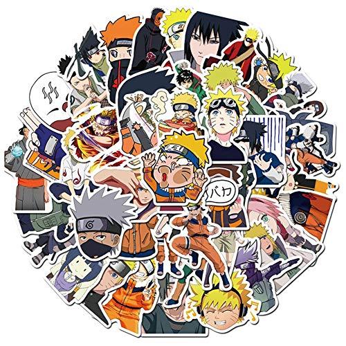 Elibeauty Naruto-Aufkleber [50 Stück], Anime-Vinyl-Aufkleber Pack für Laptop, Wasserflasche, Fahrrad, Auto, Motorrad, Stoßstange, Gepäck, Skateboard, Graffiti, bestes Geschenk für Kinder