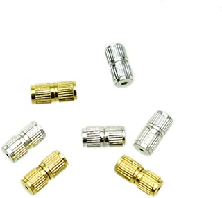 Monrocco 60 Pcs 9X4mm Copper Barrel Screw Clasps for Necklace Bracelets Jewelry Making(Gold +Sliver).