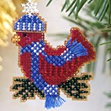 Snowcapped Red Bird Beaded Counted Cross Stitch Ornament Kit Mill Hill 2002 Winter Holiday M105