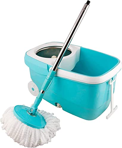 Zizer 360 Degree Spin Bucket Mop with 2 Refills Super Absorbent Refills for All Type of Floors 180 Degree Bendable Handle for Perfect Cleaning with Steel Jali and Big Wheels