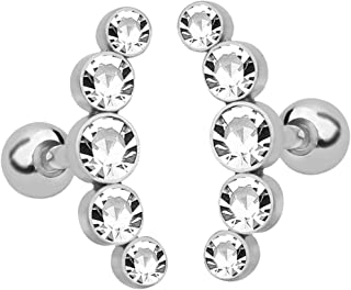 D DOLITY 2Pcs Fashion Czech Crystal Tragus Barbell Ear Stud Helix Piercing Jewelry for Women Men, 7 Color Available