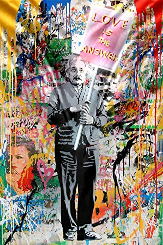 Abstract Graffiti Street Art Banksy Tapestry Wall Hanging Einstein Love is the Answer Banksy Wall Tapestry for Bedroom Aesthetic Trippy Tapestry Wall Art Wall Decor for Bedroom Living 60x40 Inch