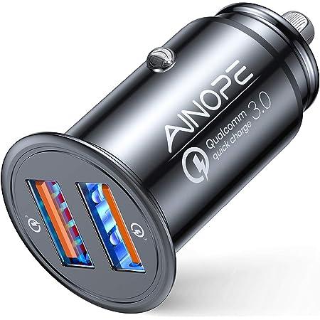 AINOPE シガーソケットusb, [デュアルQC3.0ポート] 36W/6A 超小型 [すべての金属] 高速車の充電器 車usb シガーソケット usb 急速充電 に iPhone 12 Pro Max/ 11 Pro Max/XR/X, iPad Air 2/Mini, Note 20 10 9/Galaxy S20/10/S9/S8, 対応 – ブラック