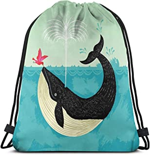 The Bird And The Whale Drawstring Backpack Bag Lightweight Gym Travel Yoga Casual Snackpack Shoulder bag for Hiking Swimming beach