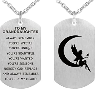 to My Granddaughter Stainless Steel Dog Tag Pendant Necklace Gift Jewelry Keychain