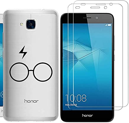 Huawei Honor 5C Case with 2 pack glass screen protector Phone Case for Men Women Girls ZDear Soft TPU with Protective Bumper Cover Case for Huawei Honor 5C-glasses