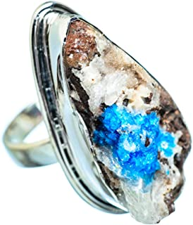 Large Cavansite Crystal Ring Size 8.75 (925 Sterling Silver) - Handmade Boho Vintage Jewelry RING955570