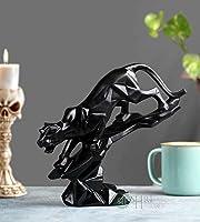 "Karigar Shop 8"" Abstract Black Panther Sculpture Figurine Handicraft Home Desk Decor Geometric Resin Wildlife Leopard..."