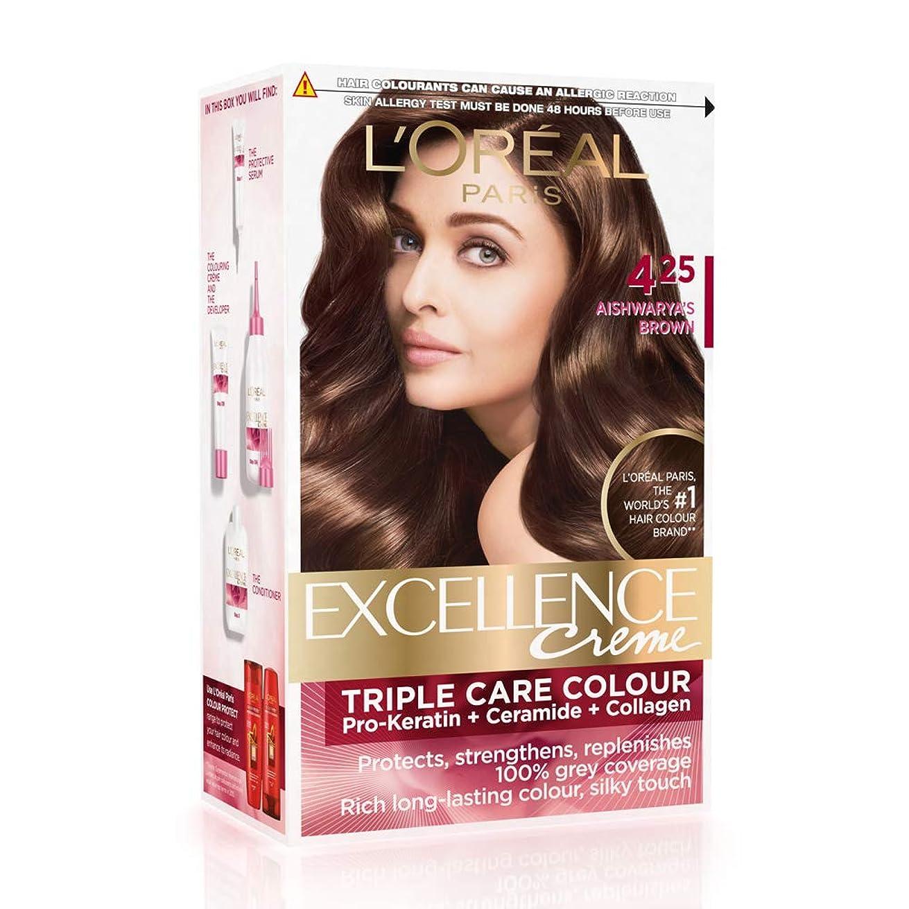 些細精通したやむを得ないL'Oreal Paris Excellence Creme Hair Color, 4.25 Aishwarya's Brown, 72ml+100g