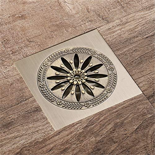 PIJN Bodenablauf Antike Bronze Antique Badezimmer Deodorant Bodenablauf Quadrat Rund Großer Fluss (Color : Metallic, Size : 100x100x71mm)