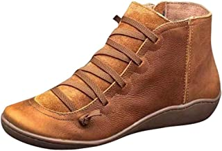 Mayunn Womens Vintage Winter Ankle Boots Round Toe Leather Boots Flat Waterproof Boot Shoes