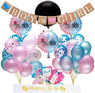 Gender Reveal Party Supplies by Ishare | 90 Pieces | Gender Reveal Decorations Set | Kit Including Photo Props, 36