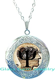 Fashion Locket Necklace Psi Symbol Locket Necklace Psychology Locket Pendant Glass Cabochon Locket Necklace.XY38