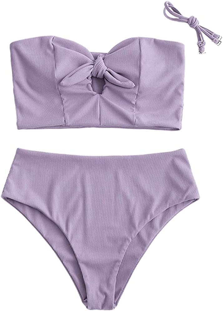ZAFUL Women Ribbed Keyhole Bandeau Tankini with Removable Straps, Tied High Waisted Two Pieces Swimsuit