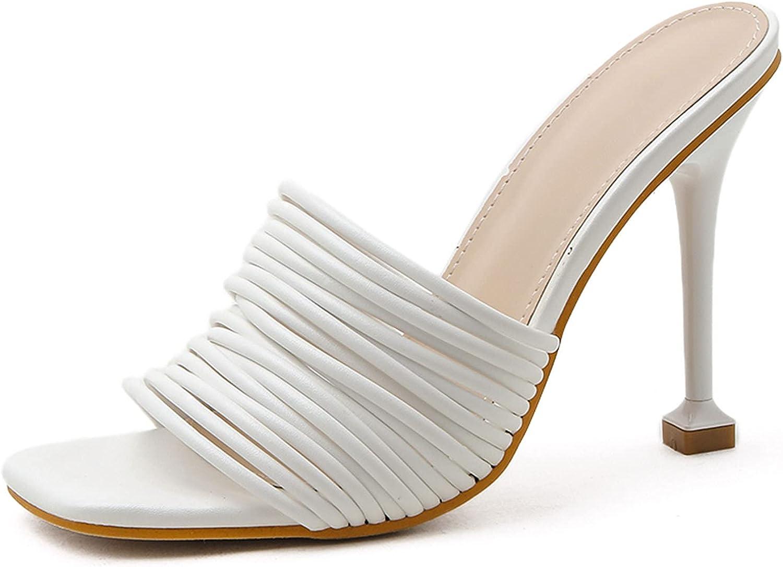 Saralris Heeled Sandals for Women Open Square Toe Slip-On Mules Slim High Heel Dress Party High Heel Slides