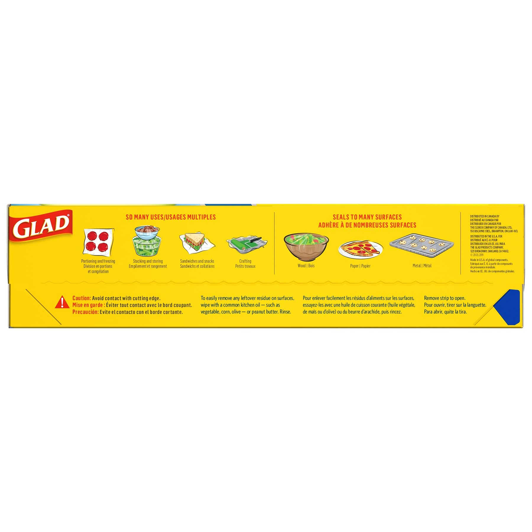 Glad Press'n Seal Plastic Food Wrap - 100 Square Foot Roll (Pack of 3) (Package May Vary)