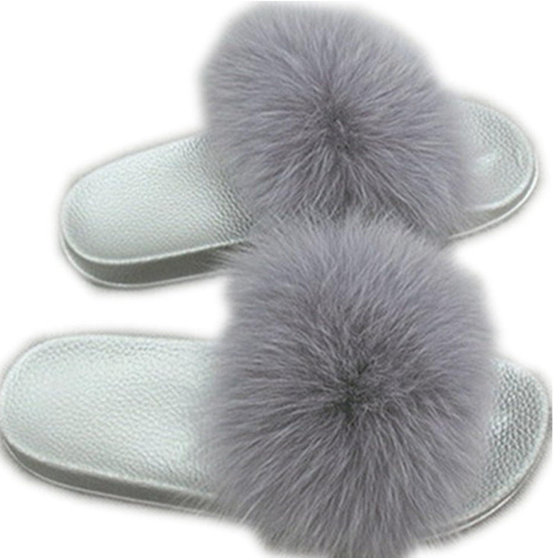 QMFUR Women Real Fox Fur Slippers Fashion Slides Flat Silver Soft Summer shoes for Girls (12, Grey)