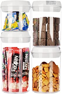 Airtight Home&Kitchen Food Storage Containers,4-Cylinder Set(0.4L/0.75L/1.1L). Durable BPA Free Plastic Containers with Easy Lock and seal Lids. Perfect for cereals,nuts,fruits,beverage,coffee beans.